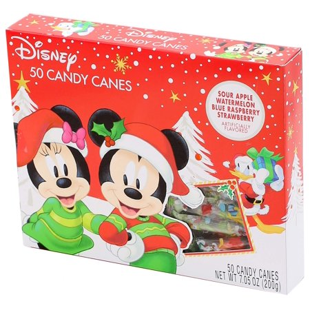 - 2018 Disney Mickey Mouse Fruit Flavored Mini Christmas Candy Canes, Pack of 50, 7.05 oz