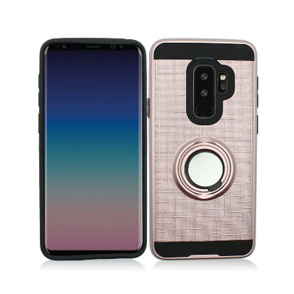 MUNDAZE Rose Gold Brushed Ring Stand Magnetic Ready Case For Samsung Galaxy S9 PLUS Phone