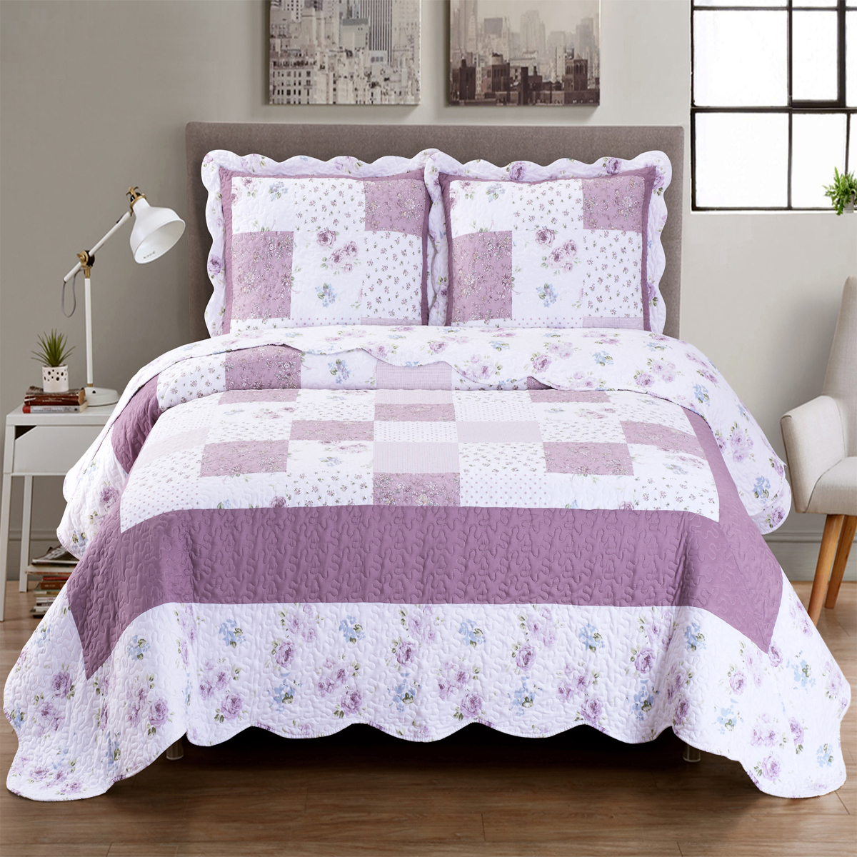 Ventura Oversize Reversible Quilted Coverlet Set Wrinkle-Free & Pet hair Resistant : Full/Queen