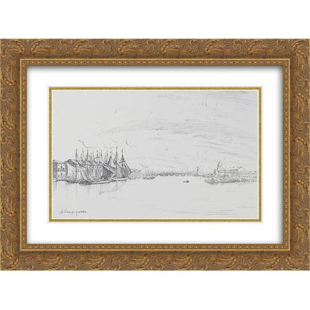 Anna Ostroumova Lebedeva 2X Matted 24X18 Gold Ornate Framed Art Print View From The Tuchkov Bridge