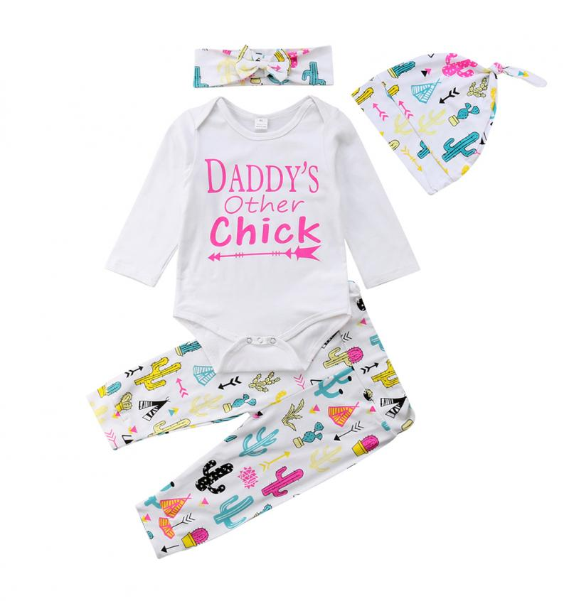 Baby Girl Clothes Winter Daddy's Other Chick Long Sleeve Romper Cactus Leggings Pants 3pcs