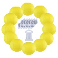 Just Artifacts 12inch Paper Lanterns 10pcs w/ 12pc LED Lights and Clear String (Color: White)