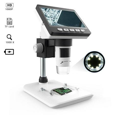 MUSTOOL G700 50X 1000X LCD Digital Microscope Science Magnification HD 1080P Video Recording Microscopes + 8 Adjustable High Brightness LED