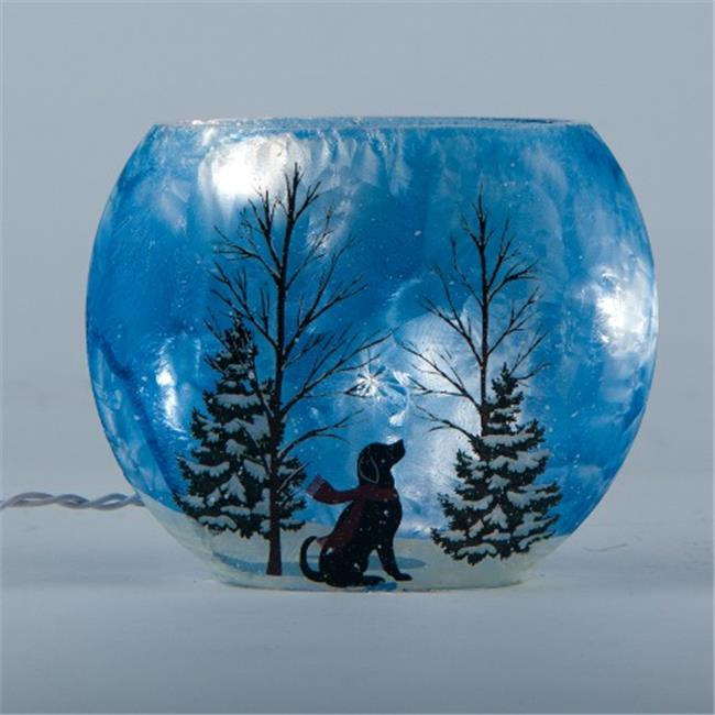 Glitzhome Round Lighted Frosted Blue Glass Hurricane, Dog