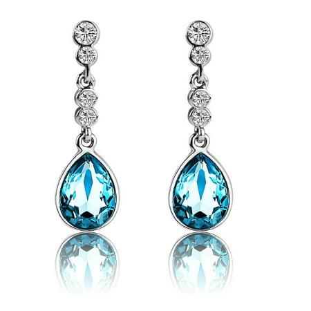 Tayyakoushi Angel Tear Fashion Drop Dangle Love Earrings Made With Swarovski Crystal Elements Gift For Women S