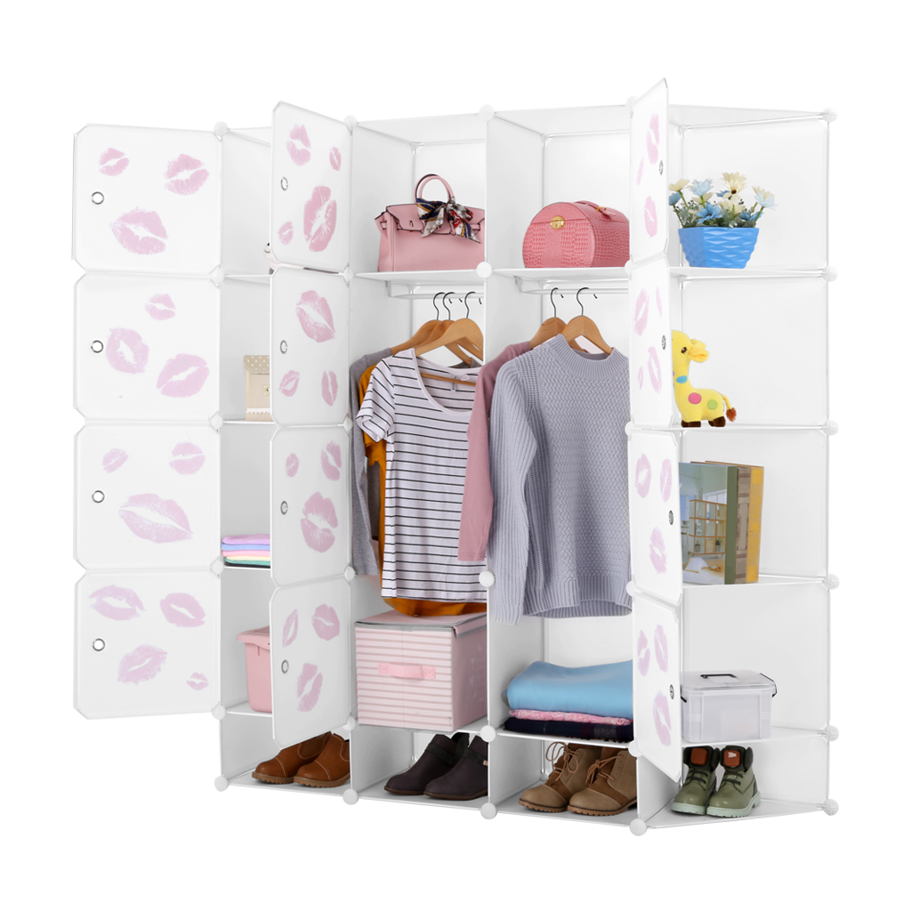LANGRIA 12-Cube Modular Clothes Shelving Storage Organizer DIY Plastic Shoe Rack Cabinet Translucent White