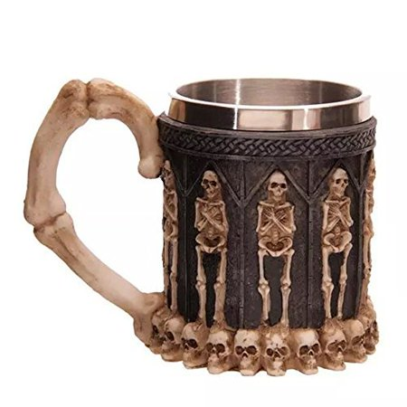 QNDREZ Ossuary Style Stainless Steel 3D Skull Skeleton Tankard Drinking Tea Water Coffee Mug Cups for Halloween Bar Party - Halloween Drinking Gif