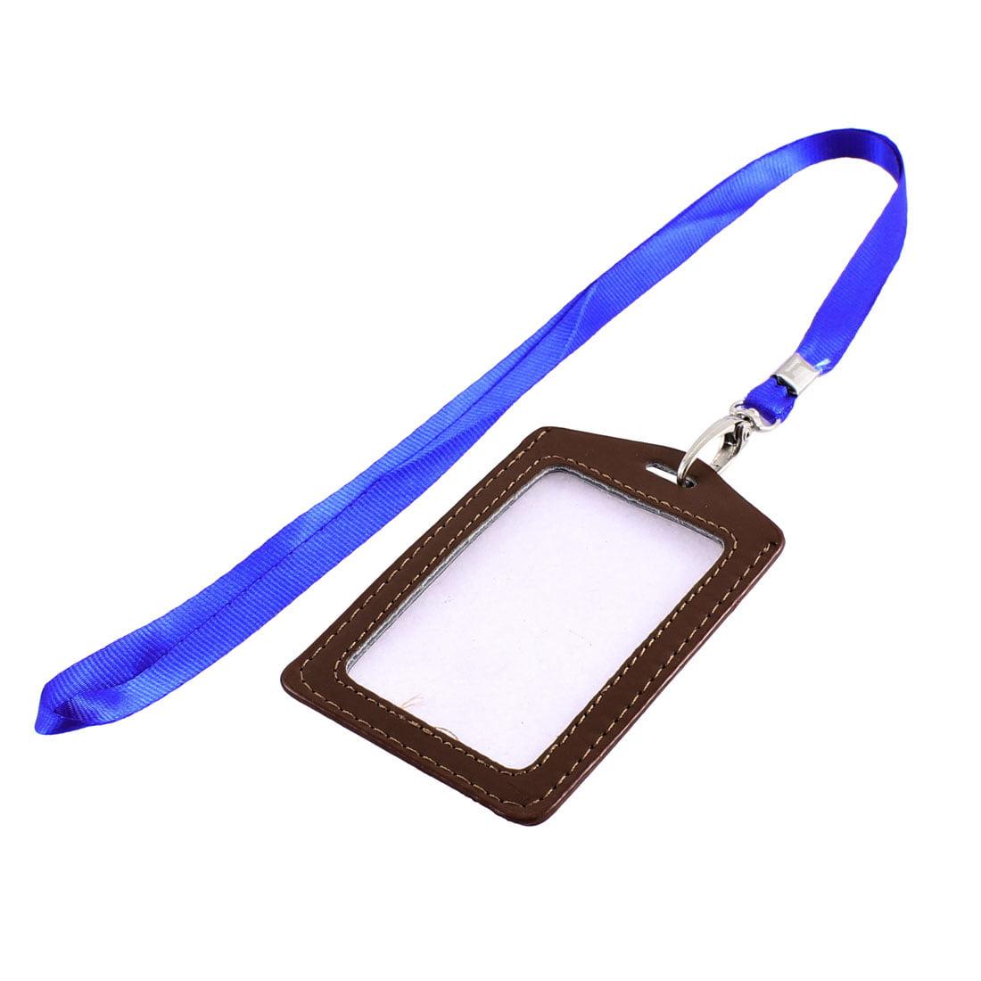 Office   Nylon Neck Strap Lanyard Vertical ID Card Badge Holder Brown - image 2 de 2