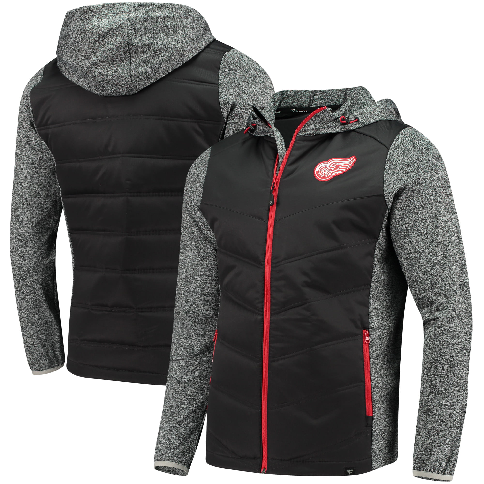 Detroit Red Wings Fanatics Branded Static Insulated Full-Zip Jacket Black Heathered Gray by BoxSeat Clothing - SOURCED