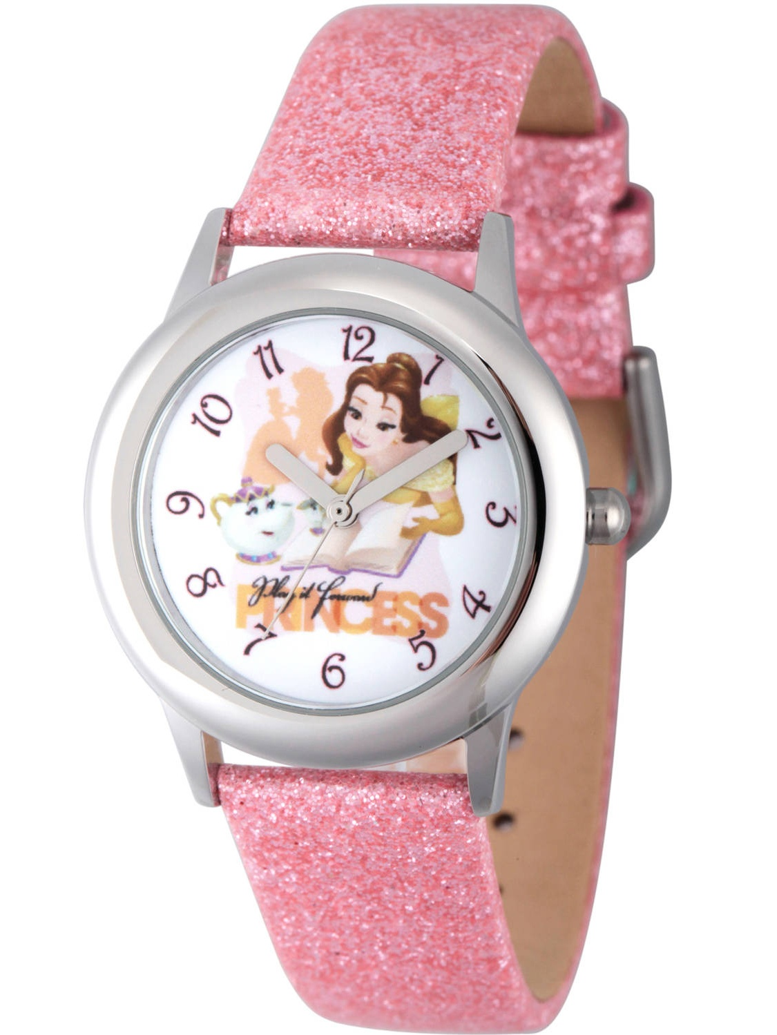 Princess Belle, Mrs Potts, and Chip Girls' Stainless Steel Watch, Pink Glitter Strap