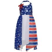 Little Girls Blue Red American Flag Inspired Style Halter Dress 6