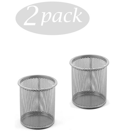Ybm Home Round Desk Steel Mesh Markers Pencil Pen Cup Holder Silver For Home, School, Office, 3 in. x 3 in. x 5 in. H 2 (Silver Mesh Desk Accessories)