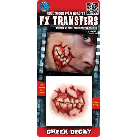 Professional 3D Tattoo Cheek Decay Adult Halloween Accessory