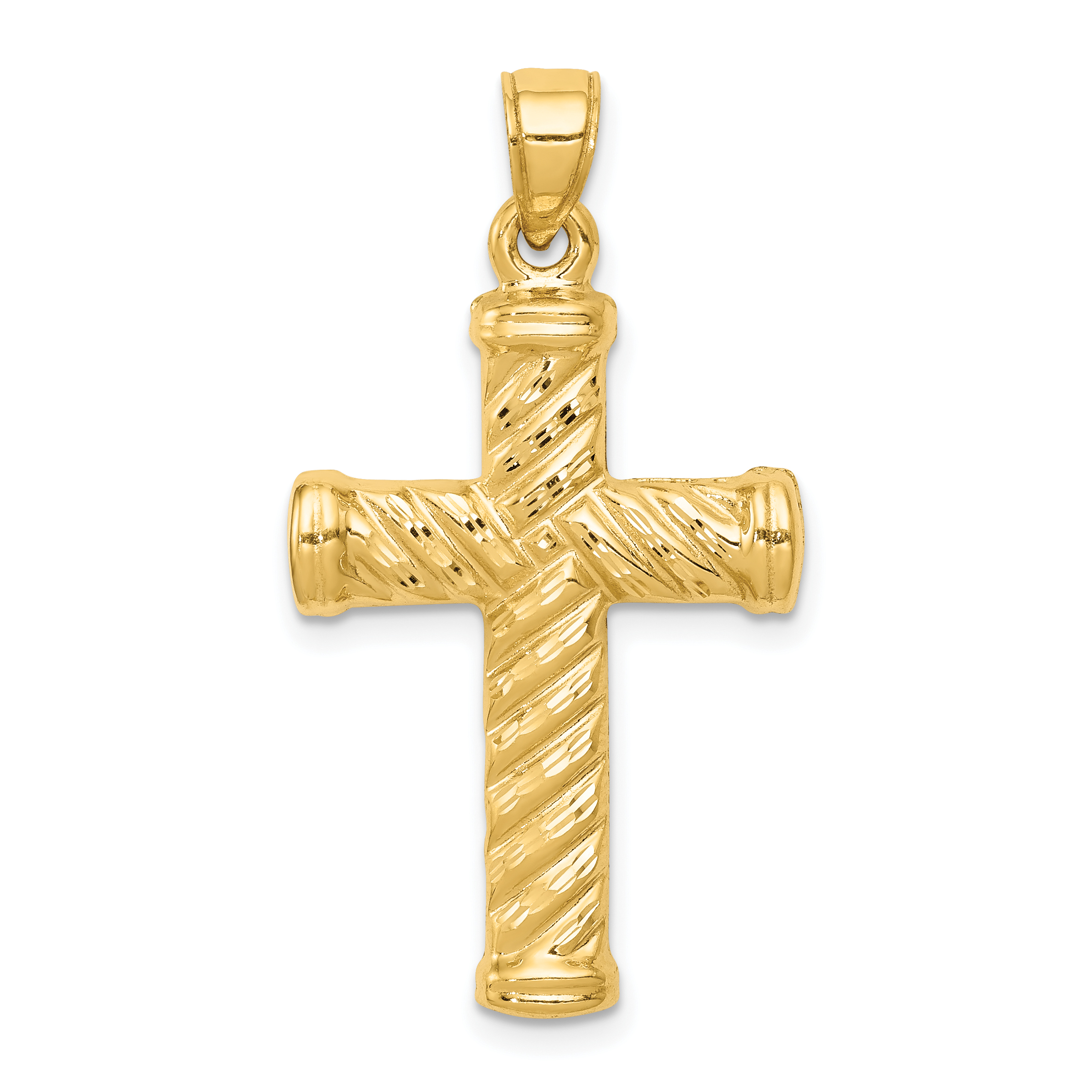 14k Yellow Gold Reversible Cross Religious Pendant Charm Necklace Latin Fine Jewelry Gifts For Women For Her - image 2 of 2