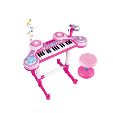 Kids Music Instrument Pink Piano And Drums Set With Stool