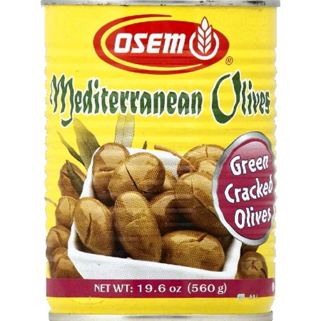Osem Mediterranean Cracked Green Olives, 19.6 Ounce