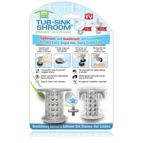 TubShroom 2 Piece Protector Hair Catcher Tub Drain Set