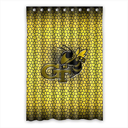 DEYOU Georgia Tech Yellow Jackets Shower Curtain Polyester Fabric Bathroom Shower Curtain Size 48x72 inch