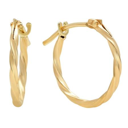- Jewelers 14K Solid Gold Hoop Twisted Earrings BOXED