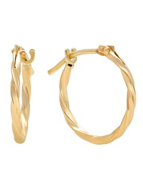 Jewelers 14K Solid Gold Hoop Twisted Earrings BOXED