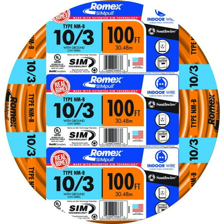 Southwire 63948426 100' 10/3 with ground Romex brand SIMpull residential indoor electrical wire type NM-B Orange