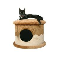 "TRIXIE Pet Products Plush Cozy Cave Cat Bed, Beige-Brown, 19.7"" x 12.6"" x 19.7"""