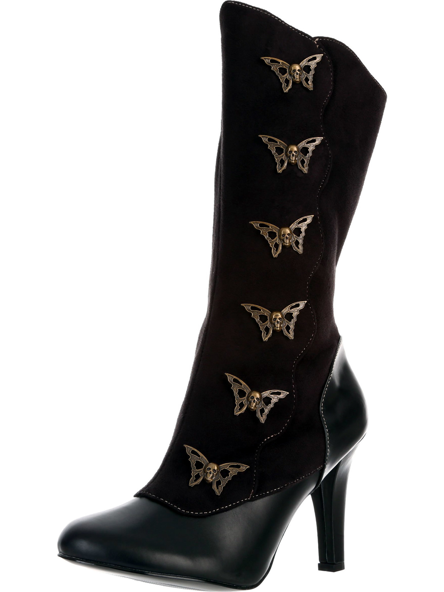 4 Inch Womens Sexy Boots Calf Boots Butterfly Buttons Steampunk
