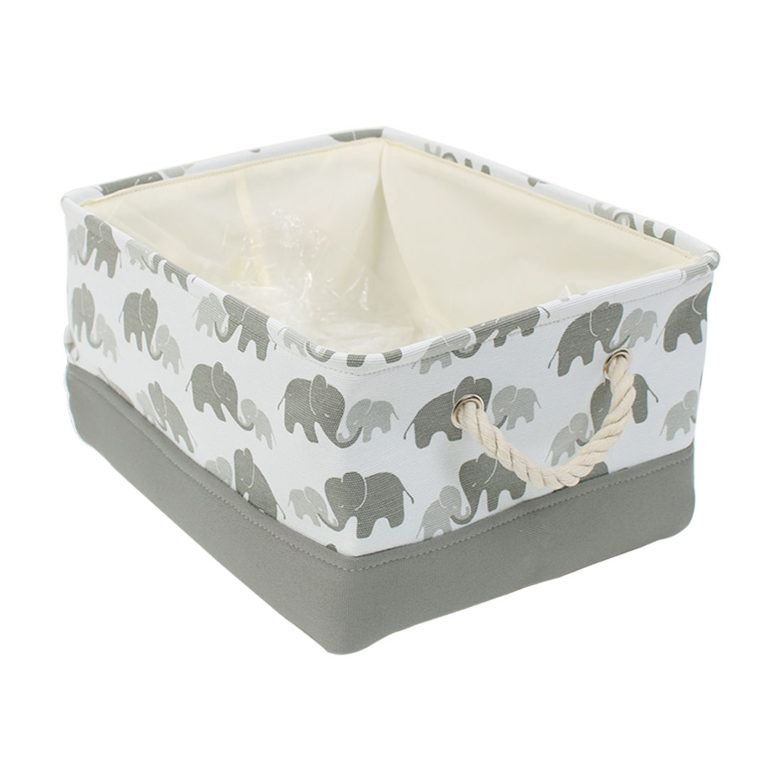 Foldable Canvas Fabric Storage Basket Bin w Handles Drawstring Cover