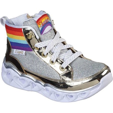Girls' Skechers S Lights Heart Lights Rainbow Diva Sneaker