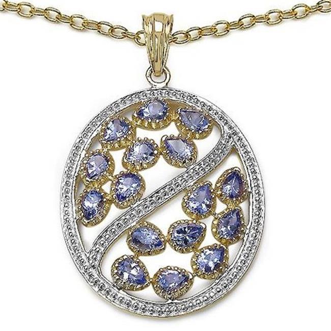 Majesty Diamonds Tanzanite Fashion Pendant Necklace in Sterling Silver & Yellow Gold Plating With Chain, 2.75 Carat