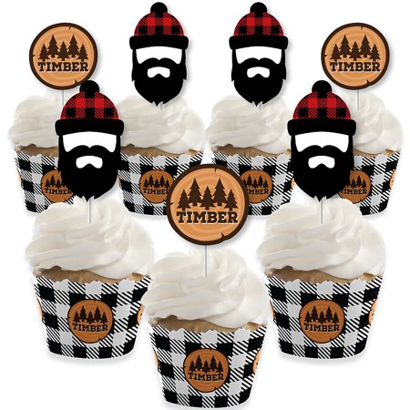 Lumberjack - Channel The Flannel - Cupcake Decoration - Buffalo Plaid Party Cupcake Wrappers and Treat Picks Kit - Set of - Cupcake Flannel