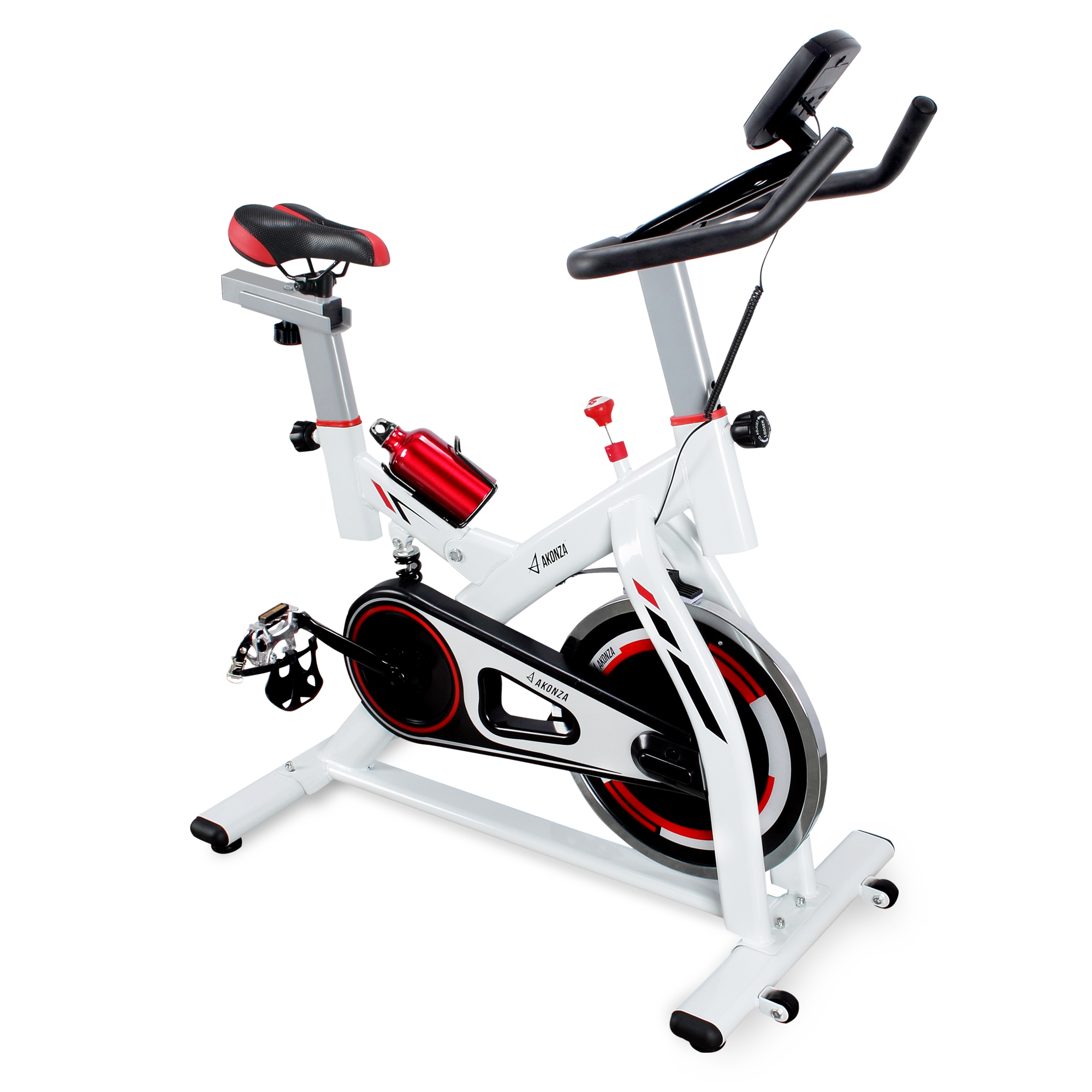 AKONZA Stationary Indoor Cycling Exercise Bicycle with Water Bottle Holder for Health & Fitness, 330lb Capacity (White)