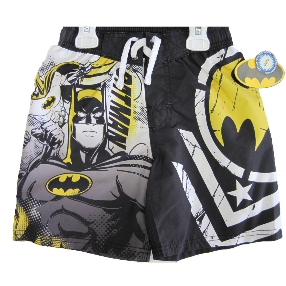 Batman Boys Black White Cartoon Character Print Swim Wear Shorts 10-12
