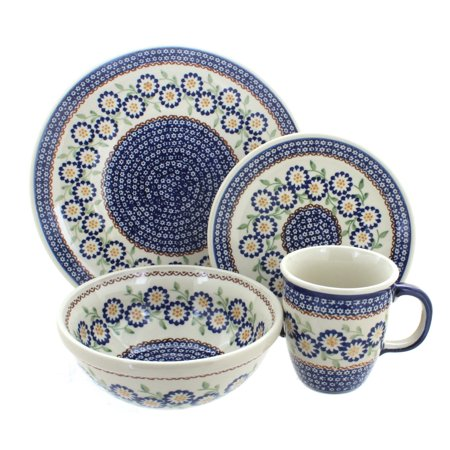 Polish Pottery Peach Blossom 4 Piece Dinner Set