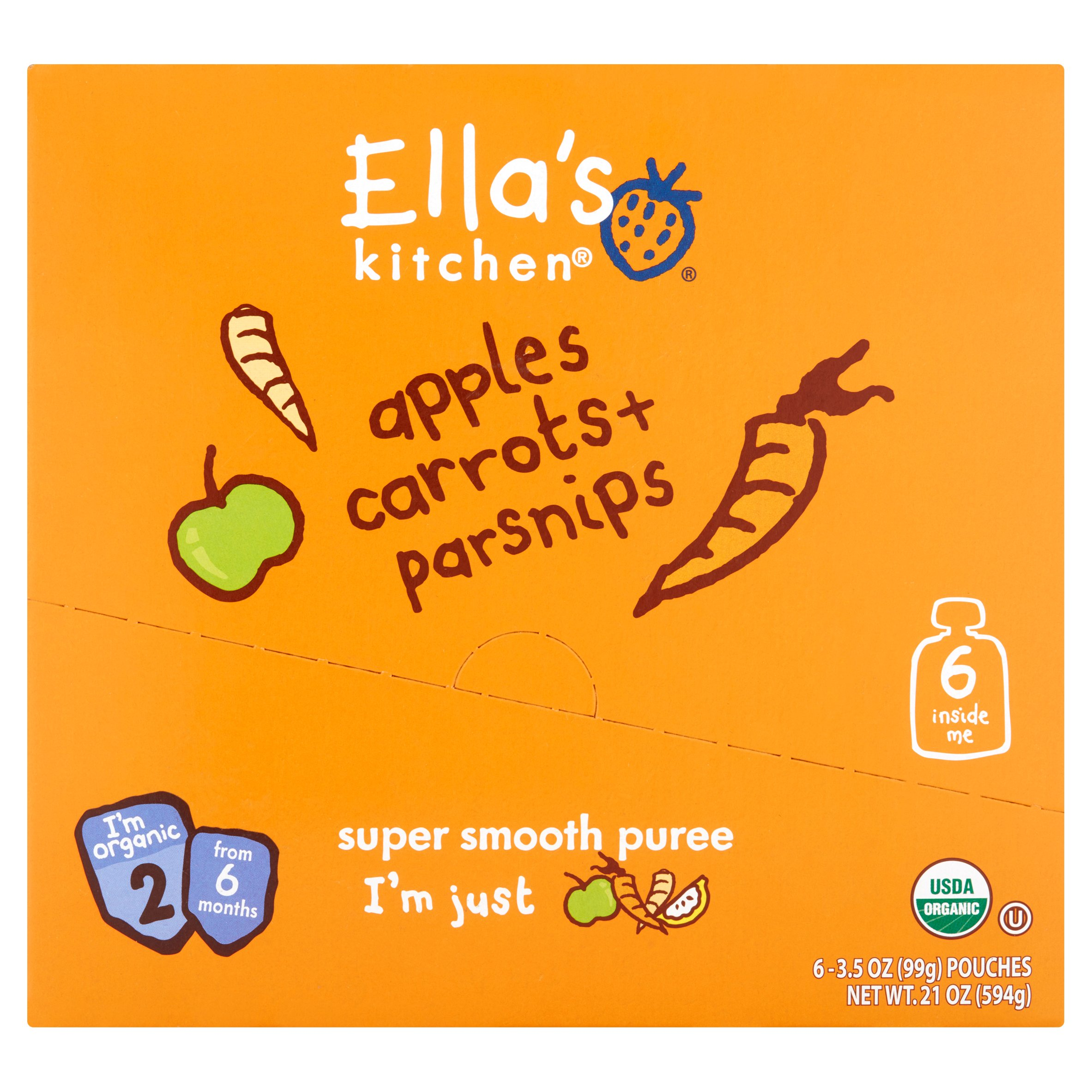 Ella's Kitchen Organic Baby Food Apples Carrots + Parsnips Baby Food, Stage 2 from 6 Months, 3.5 oz, 6 pack