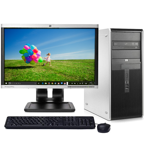 "HP Desktop PC Tower System Windows 10 Intel Dual Core Processor 4GB RAM 160GB Hard Drive DVD Wifi with a 19"" LCD - Refurbished Computer"