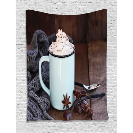 Winter Tapestry, Cozy Scene of a Cup of Hot Cocoa for Christmas with Whipped Cream on Top, Wall Hanging for Bedroom Living Room Dorm Decor, Brown and Multicolor, by Ambesonne ()