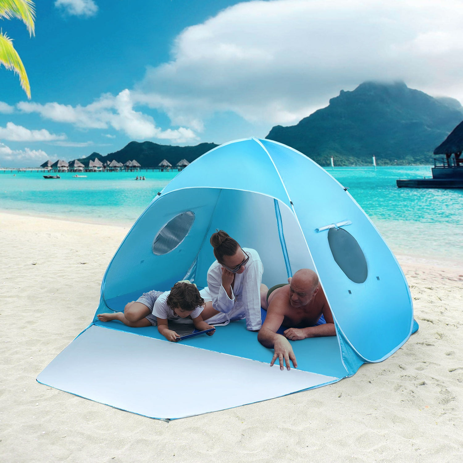 iCorer Extra Large Pop Up Instant Portable Outdoors 2-3 Person Beach Cabana Tent Sun Shade Shelter Sets Up in Seconds,... by iCorer