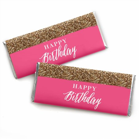 Happy Wrappers (Chic Happy Birthday - Candy Bar Wrappers Party Favors - Set of 24 )