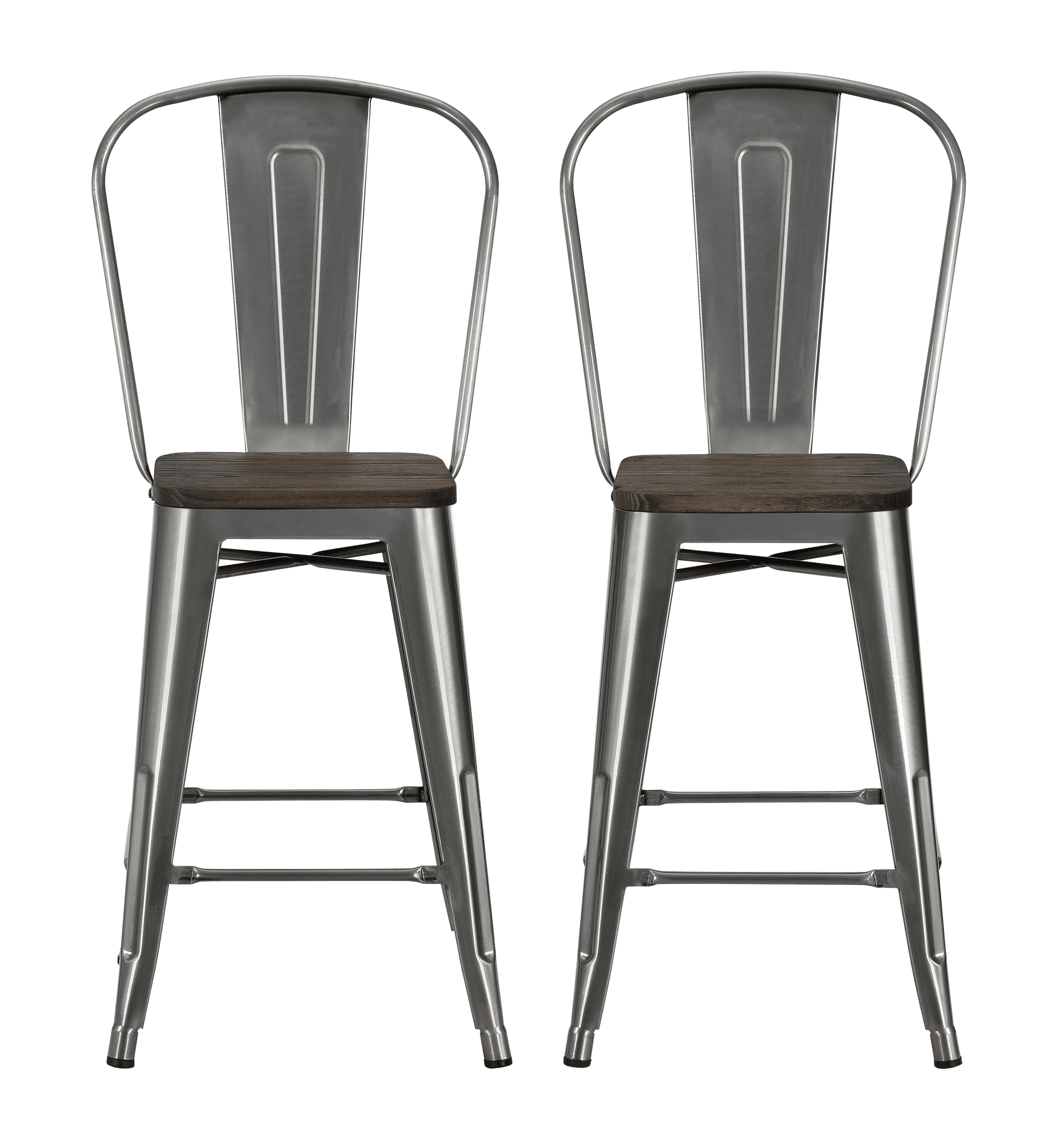 Swell Dhp Luxor 24 Metal Counter Stool With Wood Seat Set Of 2 Gmtry Best Dining Table And Chair Ideas Images Gmtryco
