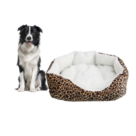Zimtown Leopard Print Round Dog/Cat Bed Cotton Mat, Comfortable Stylish Pet Bedding, Premium Plush Fiber Fill, For Small and Toy Breed Dogs and Cats