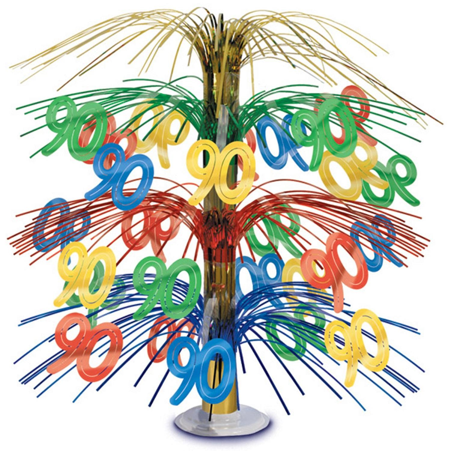 "Pack of 6 Multi-Colored Happy ""90th"" Birthday Party Cascading Table Centerpieces 18"""