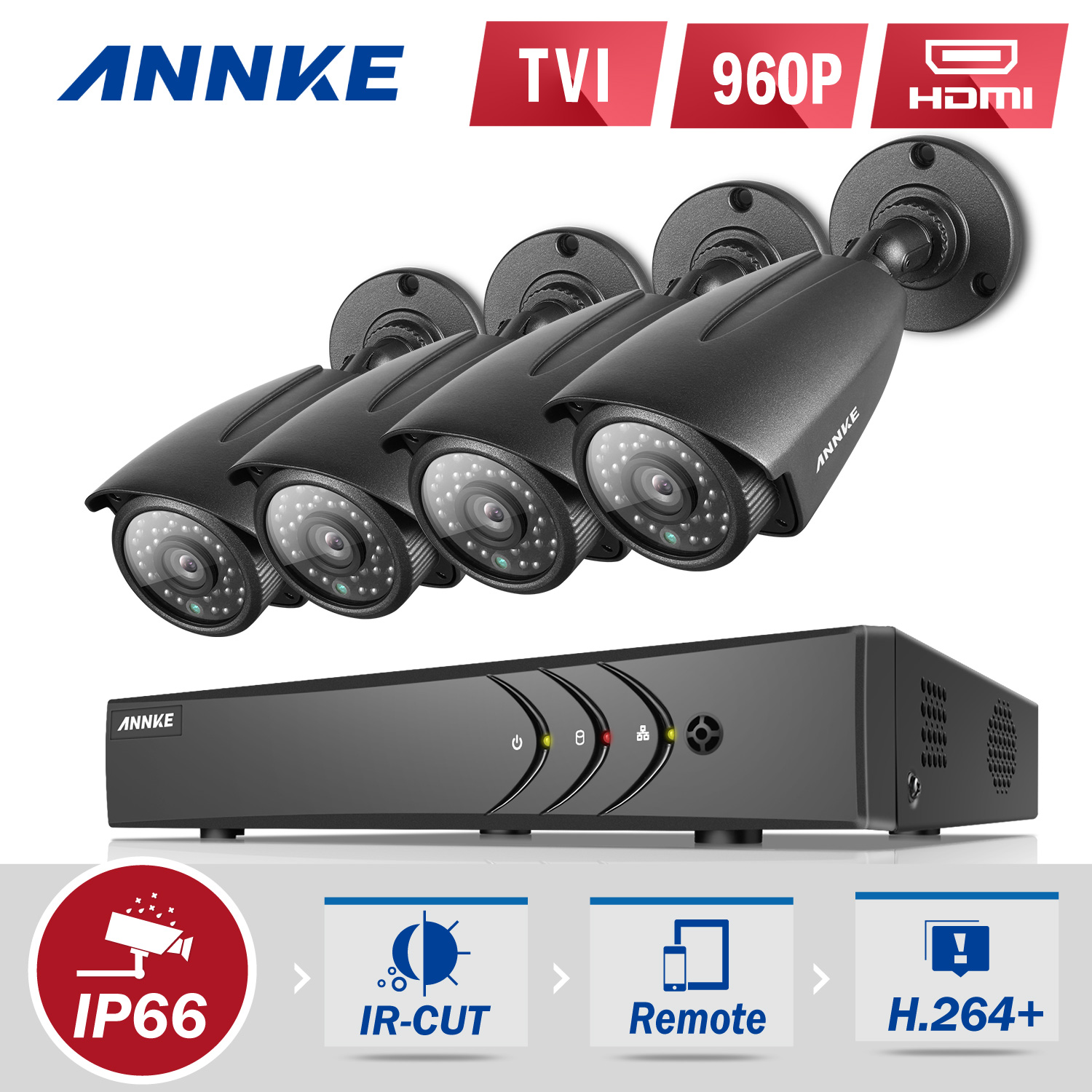 ANNKE 8CH 1080P HDMI DVR Outdoor Dome CCTV Video Home Security 4Pcs 960P Weatherproof Camera System Surveillance Kits With NO HDD