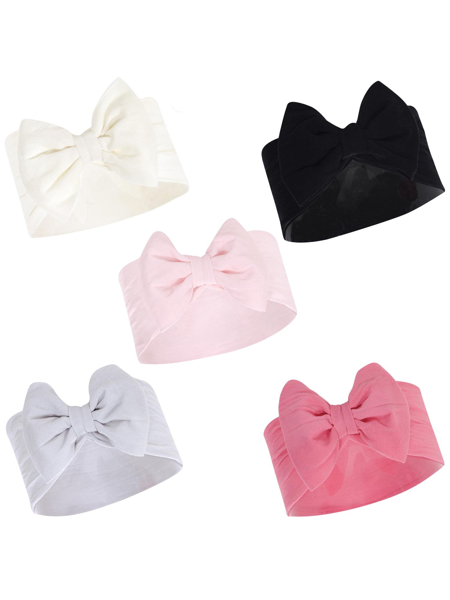 Black//Pink 12 Pack Hudson Baby Girl Petite Bow Headbands