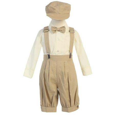 Little Boys Khaki Suspenders Short Pants Hat Outfit Set 2T - Doc Brown Outfit