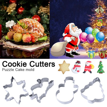 Cookie Cutters Biscuit Molds Santa Claus Shape Food Grade Sandwiches cutters for Cakes and Cookie, Set of 4](Halloween Food Ideas Sandwiches)