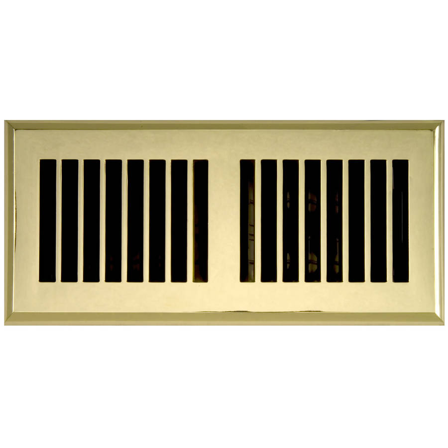 "Image of Plastic Floor Register, Polished Brass Finish, Louvered Design, 4"" x 14"""