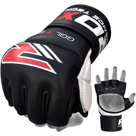 RDX Cow Hide Leather MMA Grappling Gel Gloves Cage Fighting Sparring Glove Training