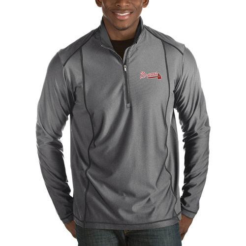 Men's Antigua Heathered Charcoal Atlanta Braves Tempo Half-Zip Pullover Jacket