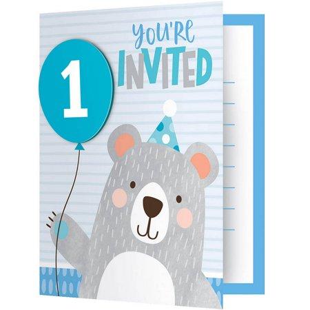 1st Birthday Bear Folded Invitation (A2 Folded Invitations)
